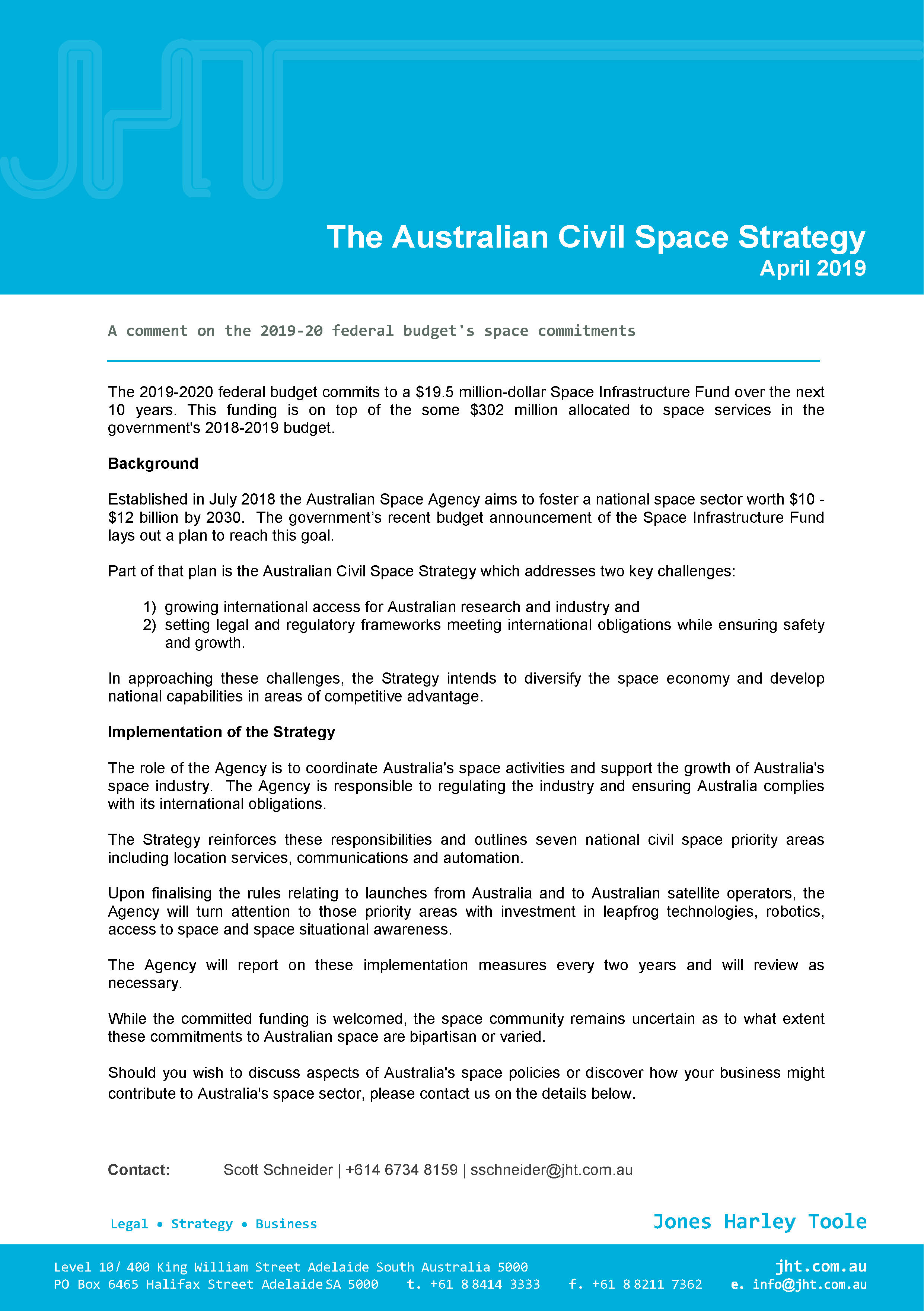 JHT Considers Aust Civil Space Strategy April 2019